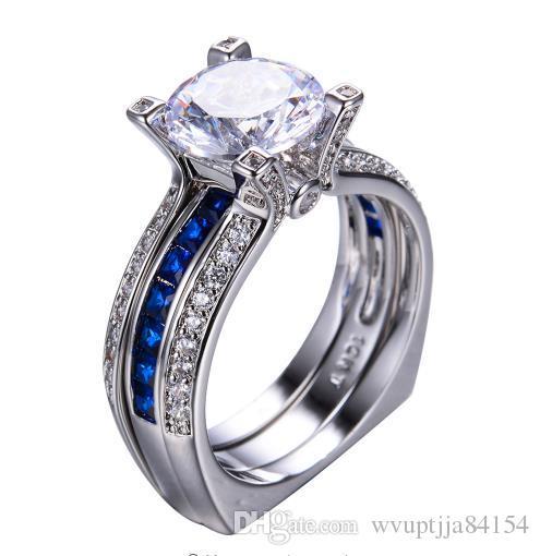 2018 Luxury Female Blue Ring Set Bridal Sets High Quality Gold