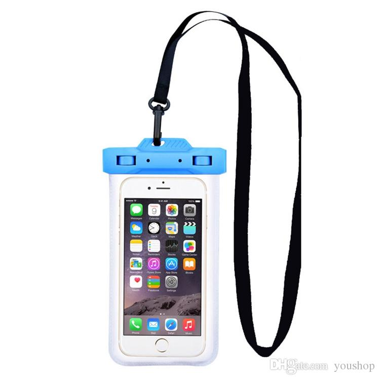 finest selection 8cee6 b9e67 For iphone 7 / 7 Plus Swimming Diving Waterproof Dry Bag Pouch Transparent  with Necklace and Armband