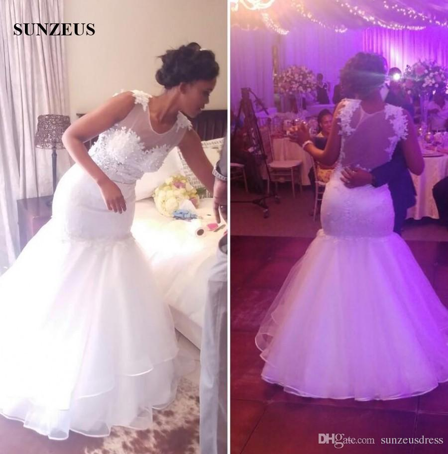Mermaid wedding dresses for black women trumpet style scoop mermaid wedding dresses for black women trumpet style scoop neckline sleeveless appliques bridal gowns sexy sheer back civil wedding dress celebrity wedding ombrellifo Image collections