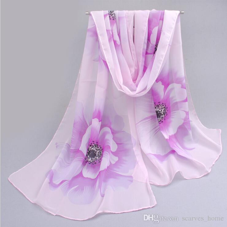 Factory Cheap Woman Scarf Silk Brand Luxury Print Flower Polyester Ladies Chiffon Scrawl Flower Printed Wrap Scarf Beach Cover Sarog160*50cm