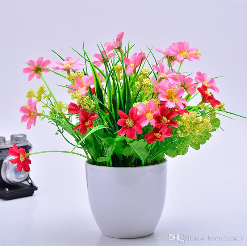 One Set Artificial Flower And Gardening Flower Pots Small Mini Colorful Plastic Nursery Flower Planter Pots Garden Deco Gardening Tool