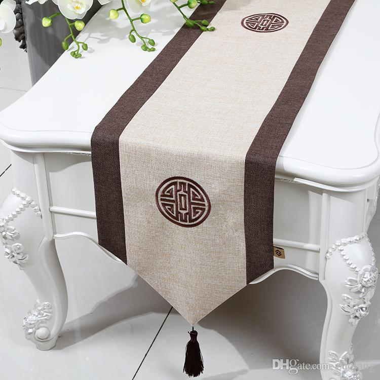 Plain Patchwork Short Length Table Runner Chinese style Cotton Linen Modern Simple Coffee Table Cloth Dining Table Protective Pads 150x33cm