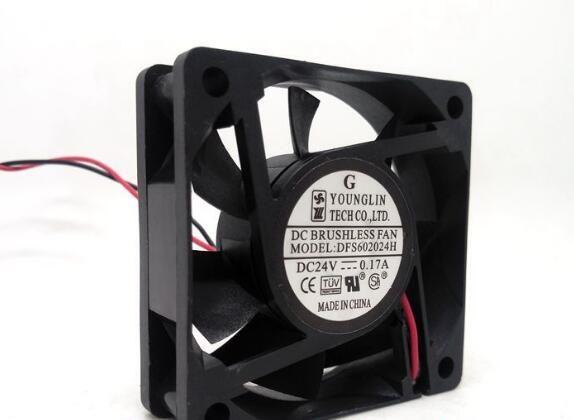 DFS602024H 6020 ventoinha de arrefecimento 6 centímetros 24V 0.17A 2wire