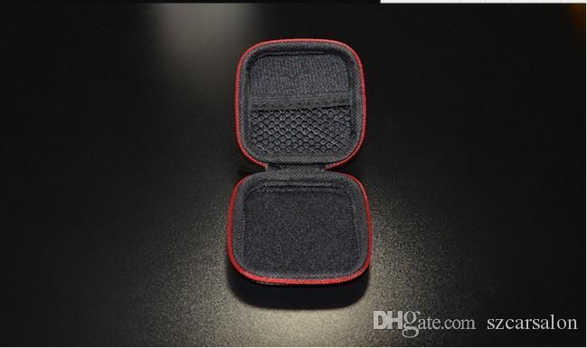 Zipper Bag fone de ouvido cabo Mini Card Box SD portátil Coin Purse Headphone saco de transporte de fibra de carbono bolsa de bolso armazenamento caso Capa