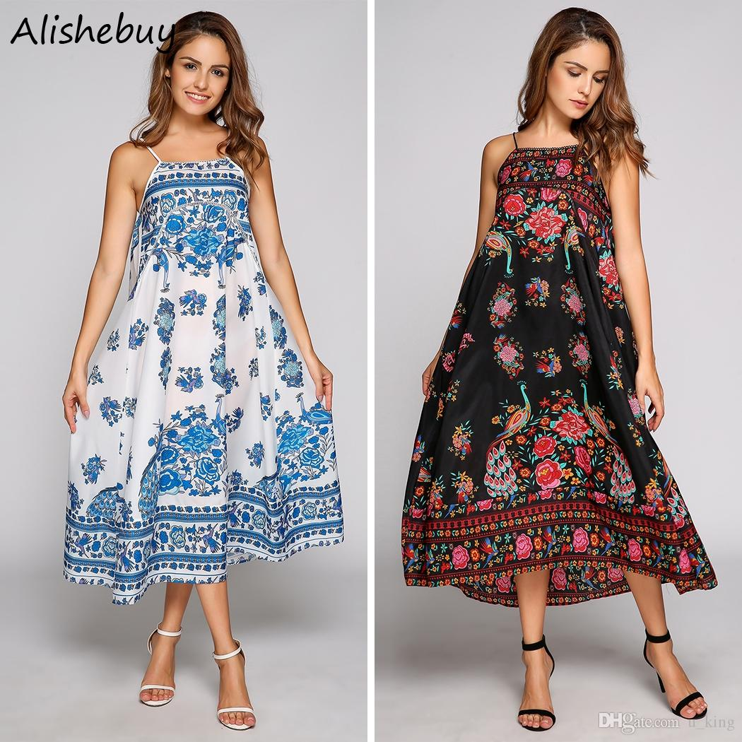 07a1ca342831a Women Spaghetti Strap Dress Casual Sleeveless Vintage Floral Pattern Dresses  Ladies Clothes Loose Backless Beach Dress Knee Length SVH033340 Long Dresses  ...