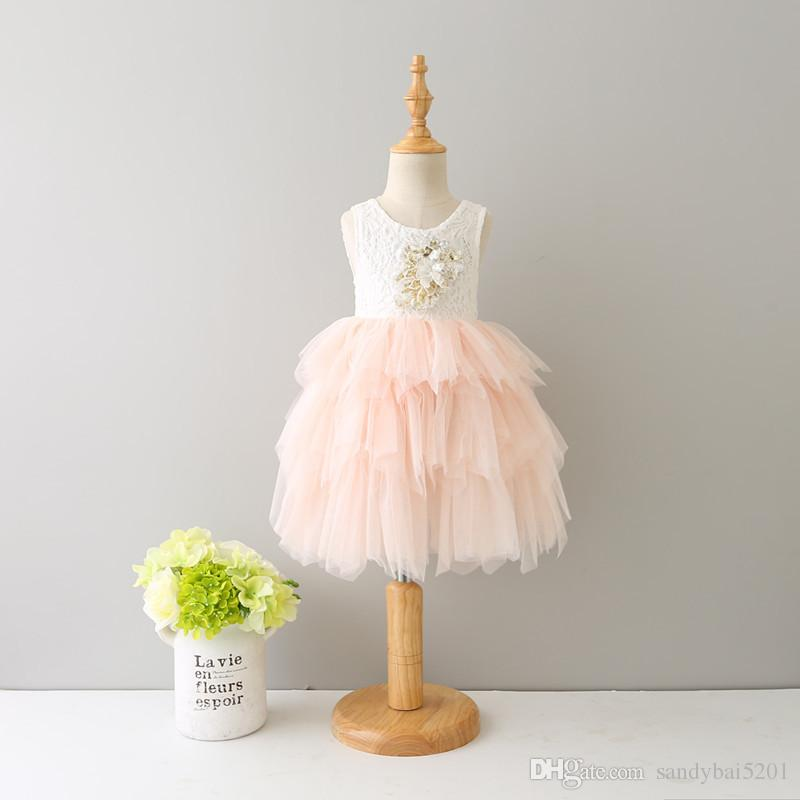 Kids Girls Lace Dresses Baby Girl Floral Print Dress Boutique 2017 Infant Princess Tulle Vest Tutu Dress for Party Children Clothing B381