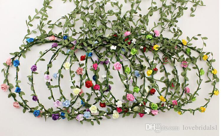 Viaggi Spiaggia Foglie Rattan Ghirlande colorate Matrimonio Damigella d'onore Fascia capelli Corona di fiori Testa di Boemia Accessorio capelli ragazza di fiore
