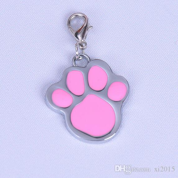 lovely High Quality dog paw Alloy Pet Dog Cat ID Card Tags Necklace ornaments Keychain
