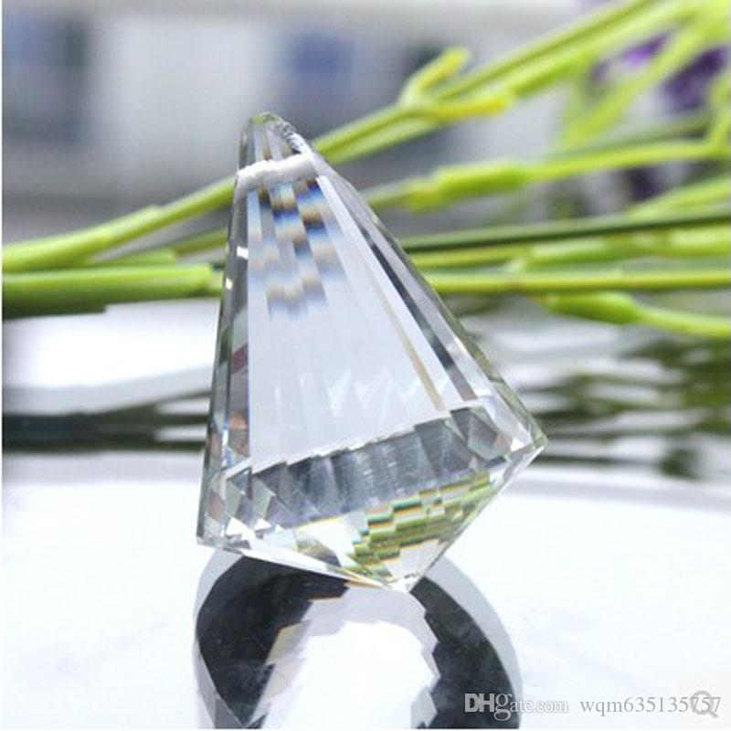 Clear 30mm Faceted Glass Crystal Cone Suncatcher Ball Prism Chandelier Crystal Parts Hanging Sun catcher Pendant Wedding Decor
