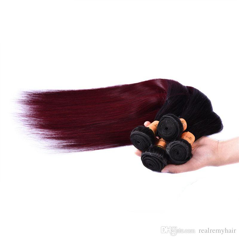 Brazilian Ombre Straight Hair 4 Bundles Colored 1B 99J Burgundy Brazilian Virgin Human Hair Weave Cheap Ombre Red Wine Hair Extensions