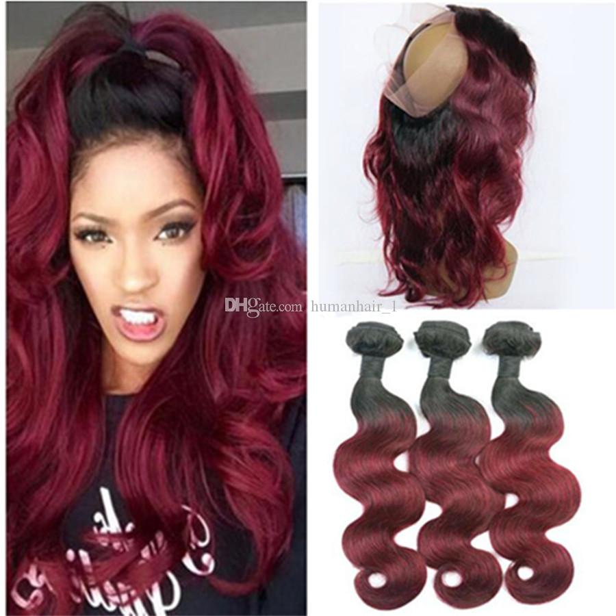 2019 Two Tone Colored 1b 99j Wine Red Hair With 360 Lace