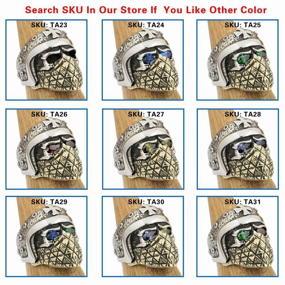 LINSION 925 Sterling Silver Capacete Da Motocicleta Crânio Anel Roxo CZ Olhos de Bronze Máscara Dos Homens Motociclista Rock Punk TA28 EUA Tamanho 7 a 15
