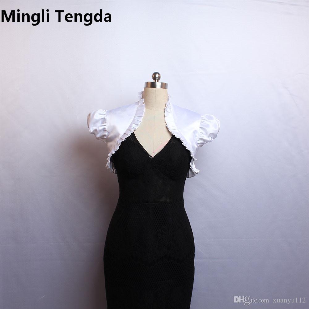 Mingli Tengda Custom Made 2018 New Avorio / Bianco maniche corte giacca da sposa avvolge Bolero Stain pieghettato Berretto da sposa avvolgere Shrug giacche da sposa