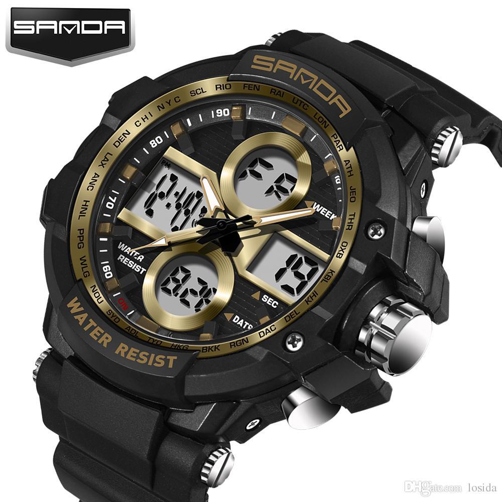 e9d3cb753 Compre Sanda Top Marca De Luxo Digital Relógio Choque Esporte G Estilo Relógio  Homens Relógio Masculino Led Digital De Quartzo Moda Casual Relógios De  Pulso ...