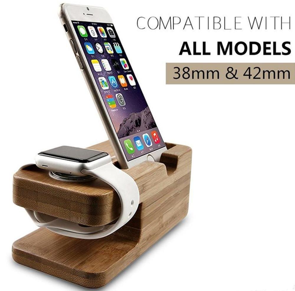 EN Kaliteli Ahşap Şarj Standları montaj Braketi Yerleştirme Şarj Istasyonu iphone 6 6 artı 5 S ve Apple İzle iwatch 38mm 42mm