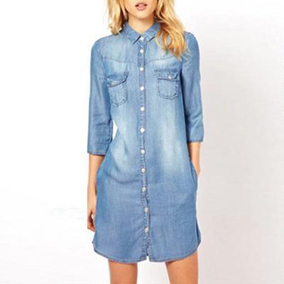 Womens Blue Denim Dress Short Sleeve Button Up Jean Shirt Dress