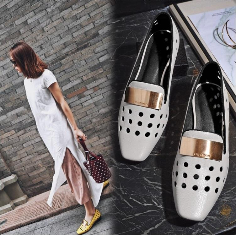 Hot Selling first layer cowskin Low heels hollow hole shoes Leather female sandals Metal decoration high quality