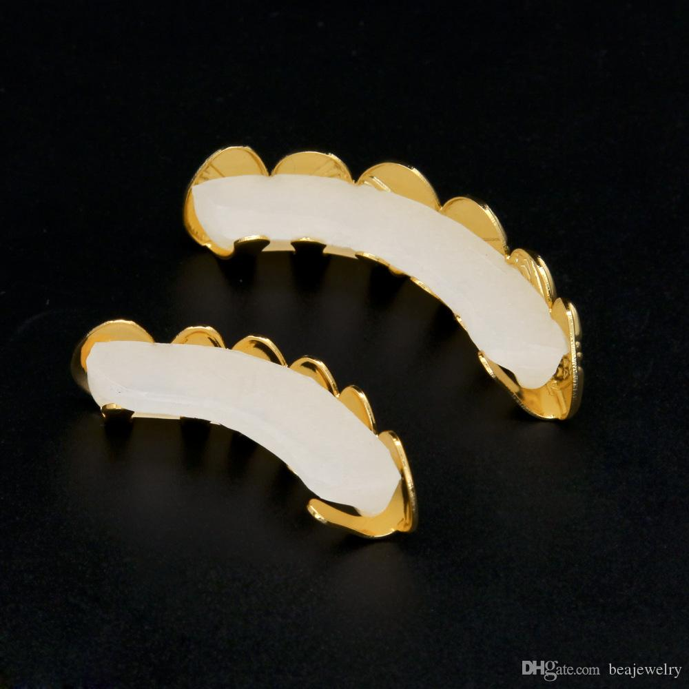 Hip Hop 14K Gold Silver Plated Top Bottom Teeth Grill Men Joker Grills Fake Mouth Grill for Christmas Costume