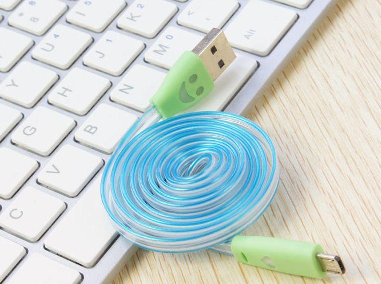 دي إتش إل إضاءة الكابلات USB 1M مايكرو تاريخ كابل USB ل Samusng HTC الهاتف المحمول الصمام مضيئة شاحن الوجه ابتسامة كابل