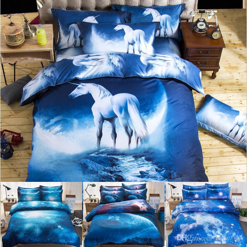 Blue Dream Cielo Stellato Costo.Acquista 3d Bedding Set Cavallo Lenzuola Copripiumino Federa