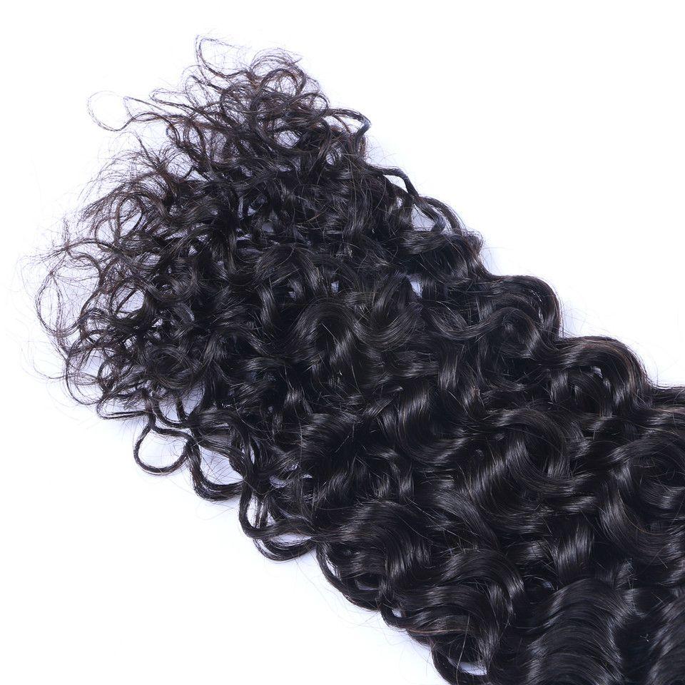 Бразильские Джерри Кудрявые Джерсивые Волосы Девственные Волосы с 4x4 Кружева Закрытие Отбеленные Узлы 100G / ПК Натуральный Цвет Двойной Усилители волос Увелики