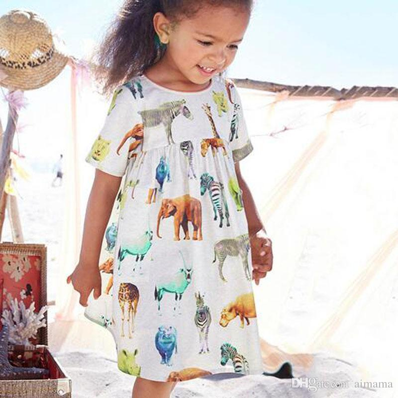 a00b0016618 2019 Wholesale Summer Baby Girls Clothes Cartoon Animal Dresses Fashion  Brand Childrens Short Sleeve Dresses For Kids Clothing Leisure Dress From  Aimama