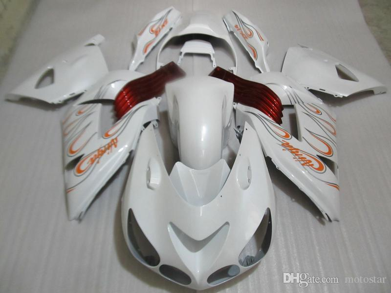 Injection molding hot sale fairing kit for Kawasaki Ninja ZX14R 06 07 08-11 white red fairings set ZX14R 2006-2011 OT09