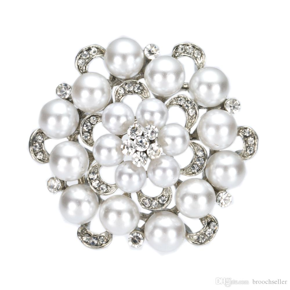 2 inch gesimuleerde parel en strass kristal diamante bloemen broche bruiloft prom pins vintage stijl