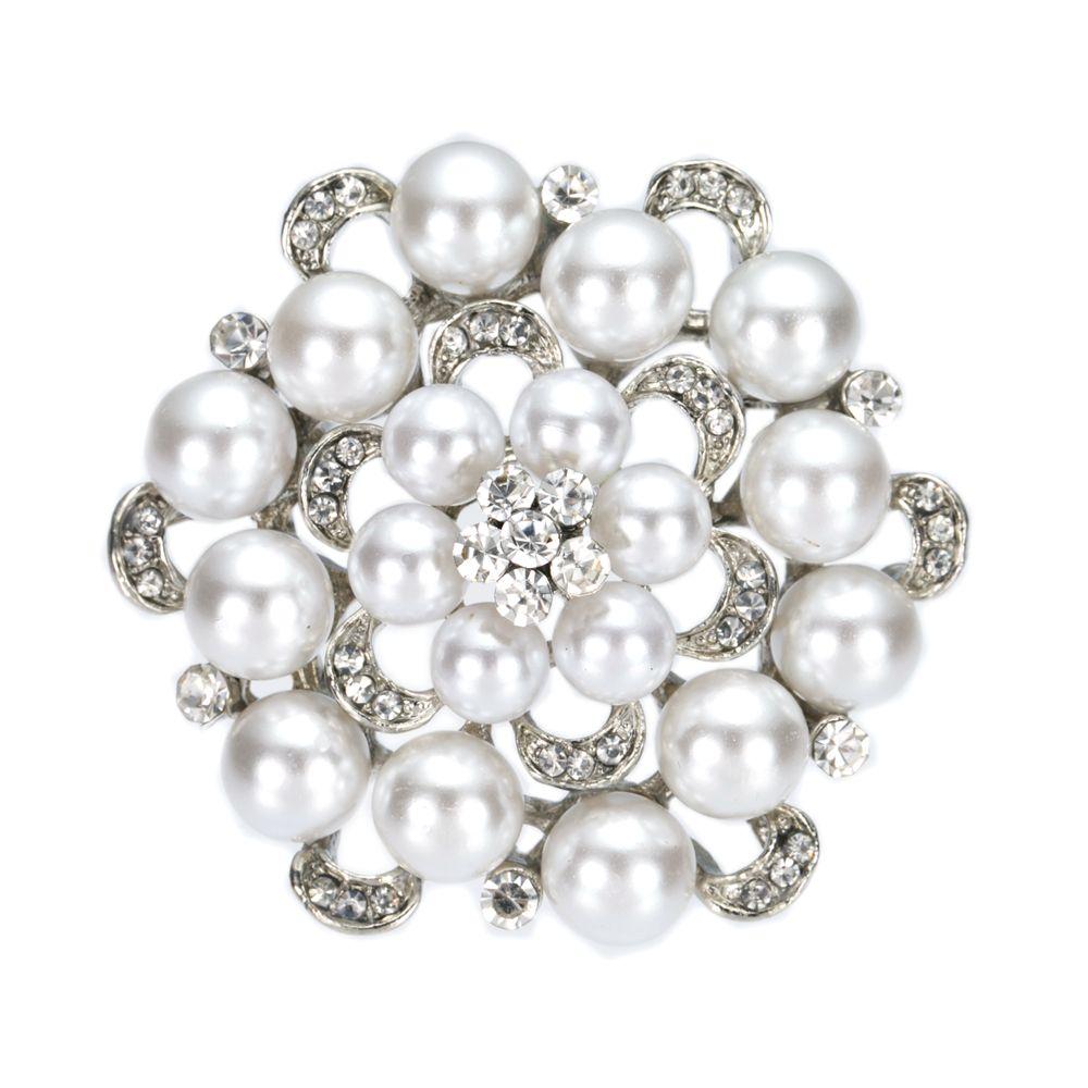 2インチシミュレートパールとラインストーンクリスタルダイヤモンテ花柄ブローチウェディングパーティープロムピンビンテージスタイル