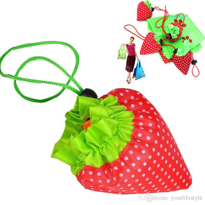 Eco Storage Handbag Strawberry Foldable Shopping Tote Reusable Bags Random Color Environmental Folding Holders Bag