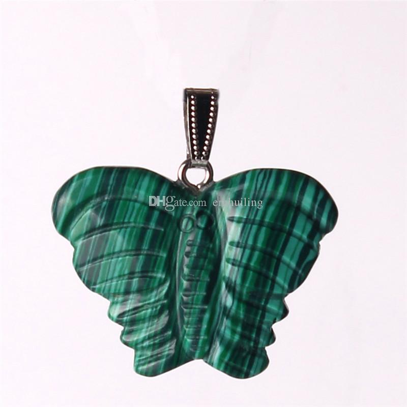 Hand Crafted New Bohemia Fashion Popular Crystal Pendant Animal Butterfly Made of Semi Gems Opal Rose Quartz Jewelry Women Men