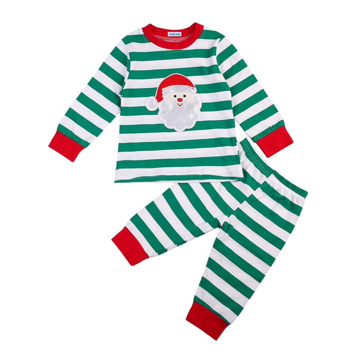 8ddc7abeb4be 2019 Christmas Kid Striped Pajamas Outfits Top+Pant Santa Kid ...
