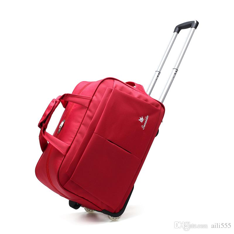 Wheel Luggage Metal Trolley Bags Women'S Travel Bag Hand Trolley ...