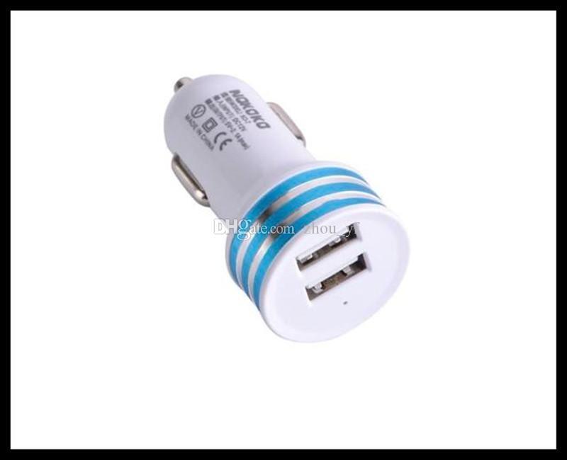 Aluminuim metal Dual USB 2 portas Car Charger adaptador AC de alimentação para Samsung Mobile Phone Chargers