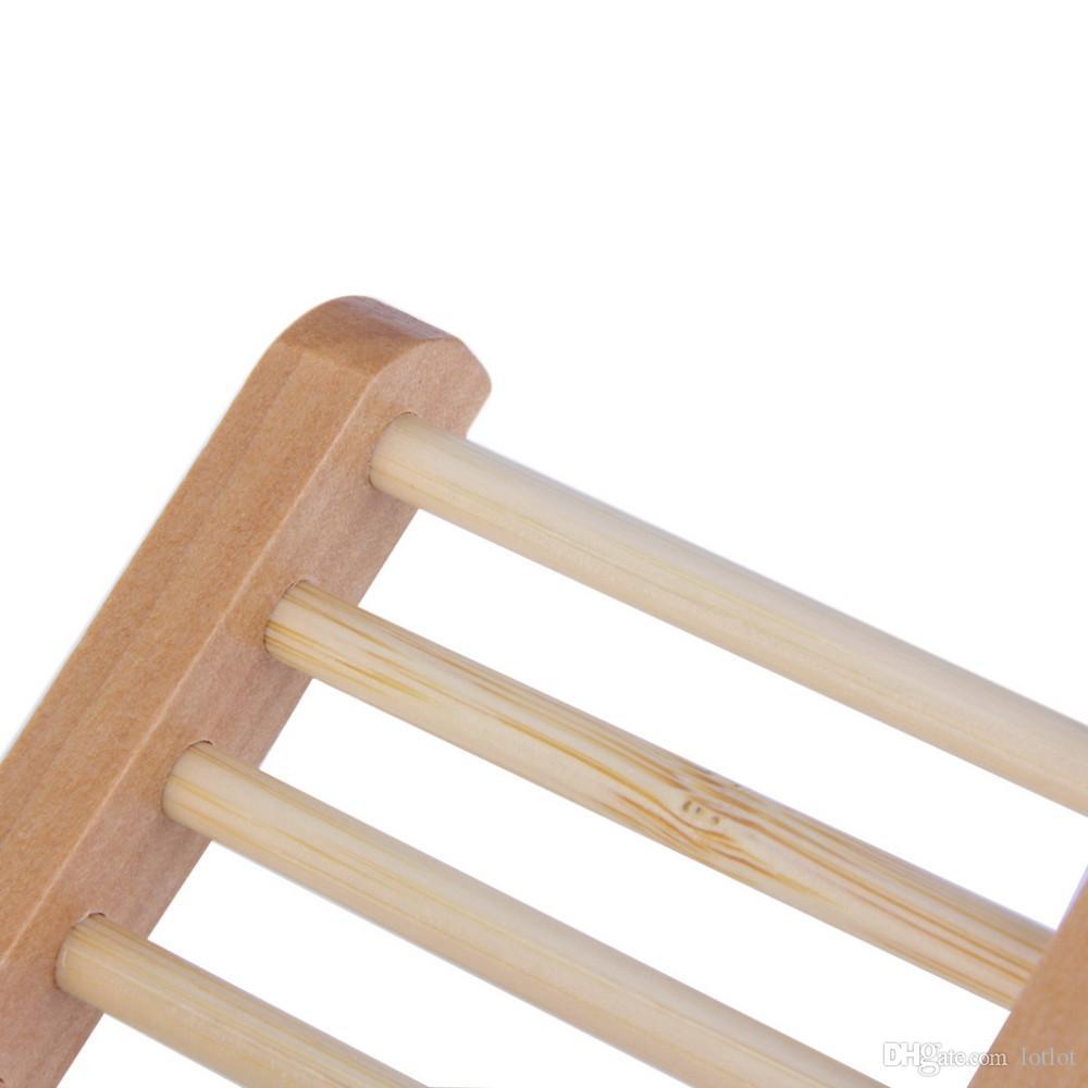 Escalera caja de jabón de madera natural Jabón de madera natural titular de jabón Bandeja Porta plato Caja Caja Almacenamiento Novedad Ducha Lavado