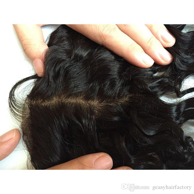 Peruvian Human Hair Closure With Baby Hair Virgin Body Wave Silk Base Closure Bleached Knots Free Part LaurieJ Hair
