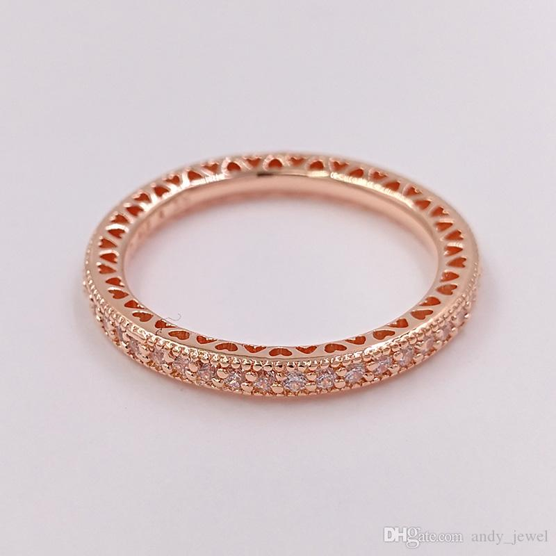 Rose Gold Plated Amp 925 Sterling Silver Ring Hearts Of