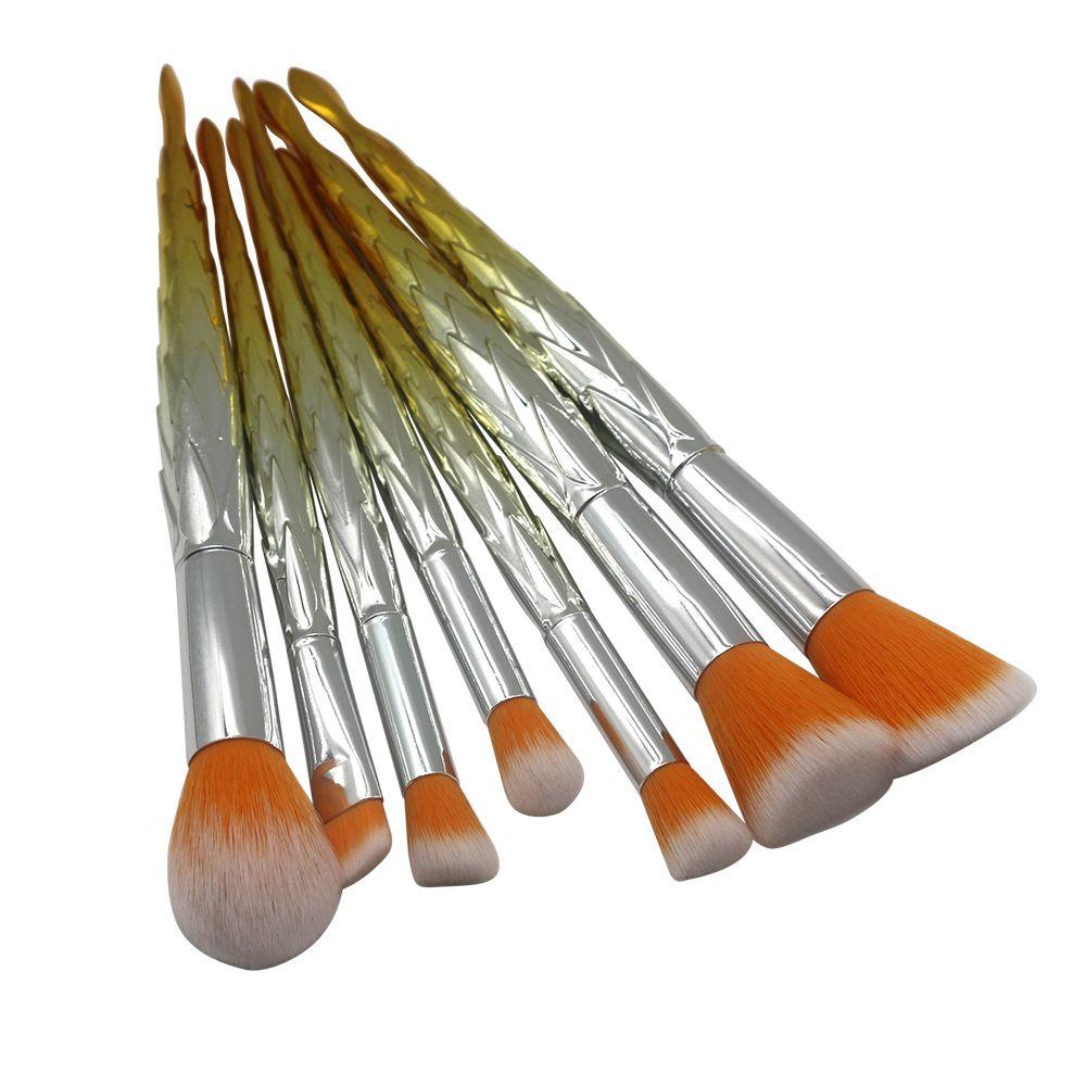 7 pzas Mermaid Makeup Brushes Sets Herramientas de maquillaje profesional Foundation Blush Cosmetic Brush Set Kit