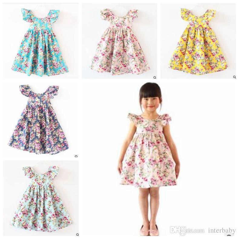 953116874 Girls Flower Dress Baby Halter Butterfly Sleeves Princess Dress ...