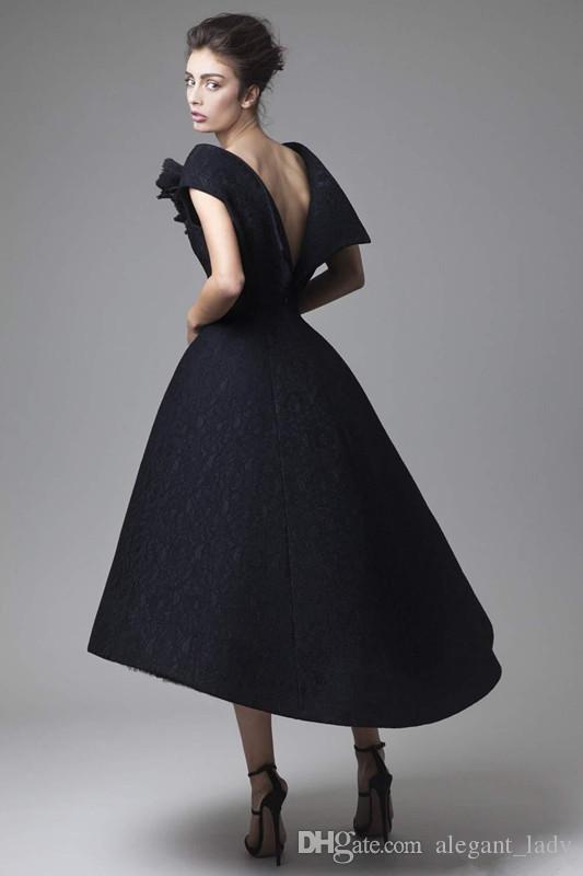 Krikor Jabotian Evening Gowns Hand Made Flower Cap Sleeve Black lace vintage tea-length Prom Dresses Backless Formal Red Carpet Dress
