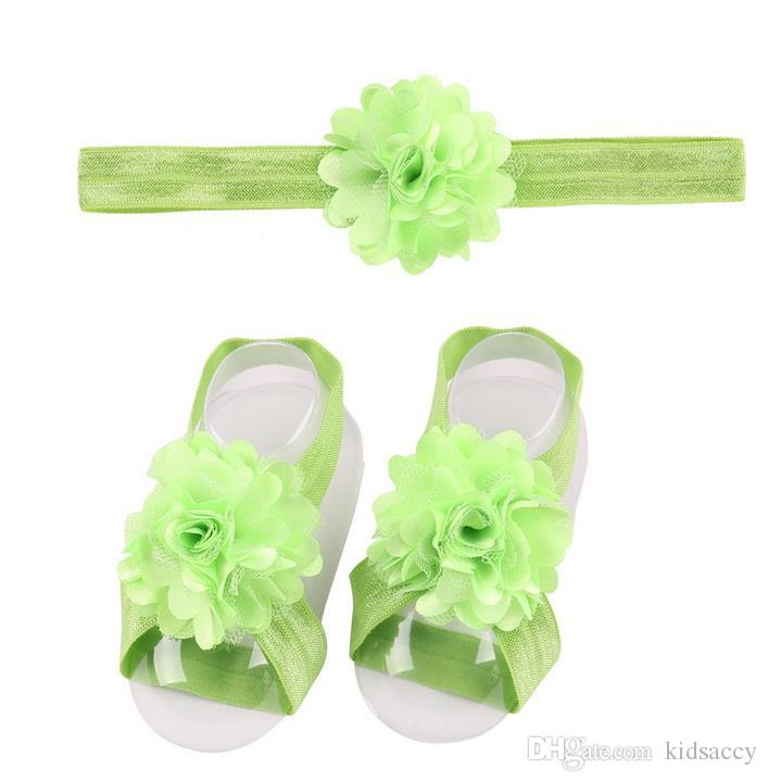 Детские сандалии цветок обувь Обложка Босые Foot цветок Галстуки младенца девушки малышей Первый Walker обувь оголовьем Set Фото Реквизит 17 цветов A46