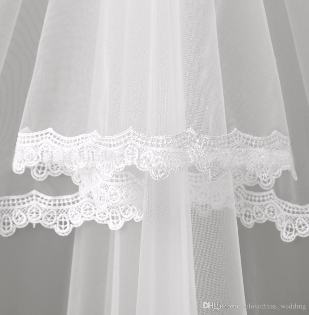 2020 chaude beau bon marché courtes voiles de mariée de lacets d'une couche bord de dentelle tulle voile voile blanc ivoire voile de mariage