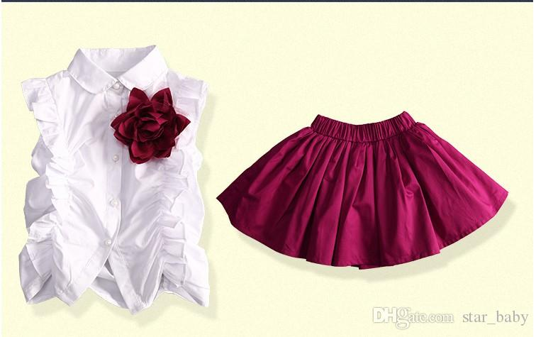2017 New Kids School Uniform Dress Set Children Boy Sets Shirt Girls Brooch Shirt+purple Skirt Boys Bow Shirts+purple Short Pants K8225