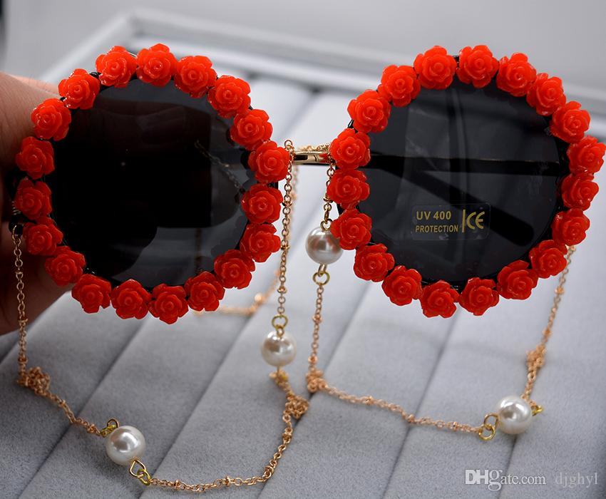 Fashion Statement Red&White Flower Summmer Beach Sunglass Women Handmade Holiday Gifts Pearl Golden Chain Glasses Special Design Sunglasses