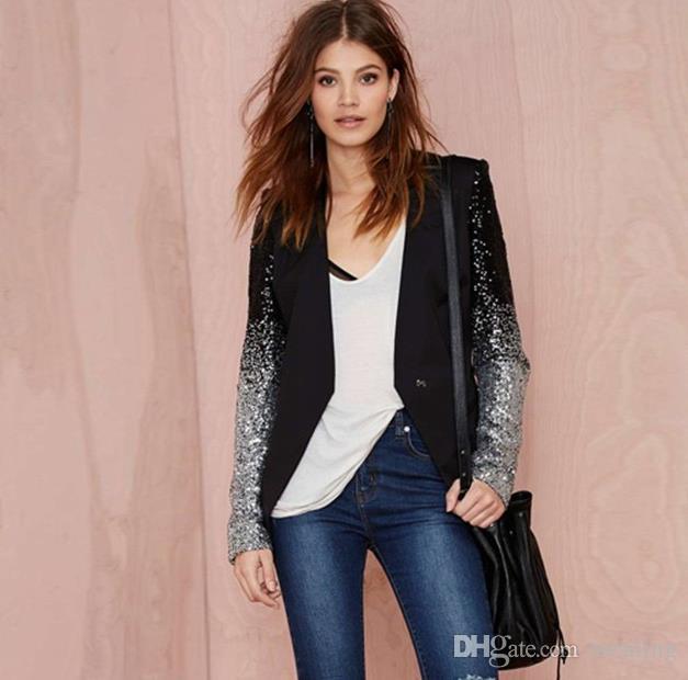Женские пальто Haoduoyi тонкий женщины Pu лоскутное черное серебро с блестками куртки полный рукав мода зимнее пальто для оптовой