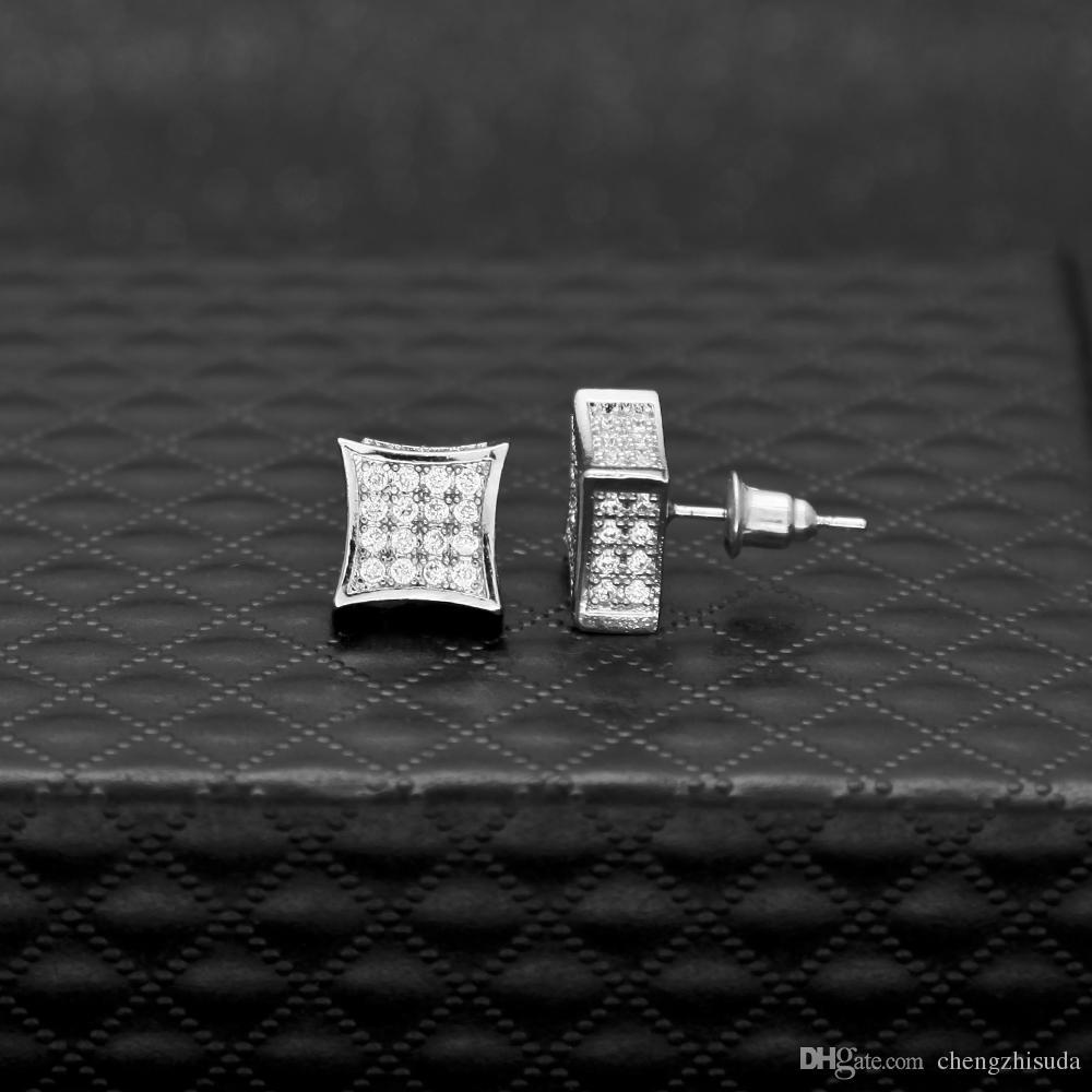 Boucles d'oreilles en zircone de luxe en zirconia cz branché de qualité supérieure or argentée couleur hommes femmes punk brincos