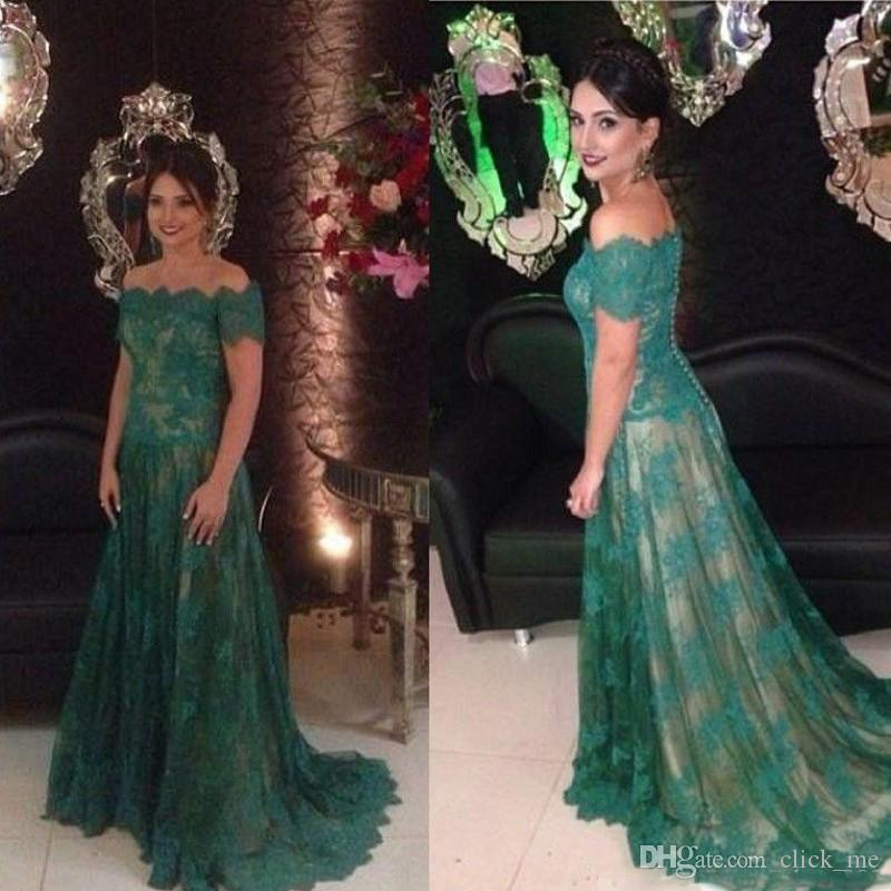 Dark Green Lace Evening Dresses With Short Sleeves Off Shoulder Long Prom Dress Back Covered Buttons Women Formal Wear Mother Of The Bride
