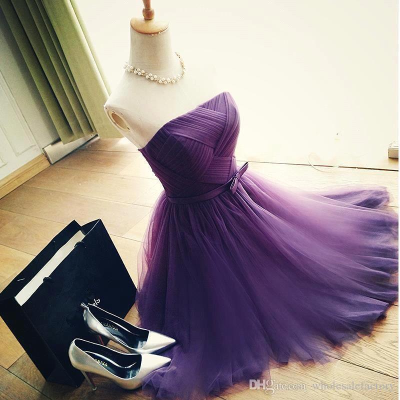 1e62593d9 Compre Vestidos De Dama De Honor Baratos Baratos Sexy Dark Purple Short  Homecoming Dresses 2017 Mucama De 8vo Grado Vestidos De Baile Vestido De  Fiesta ...