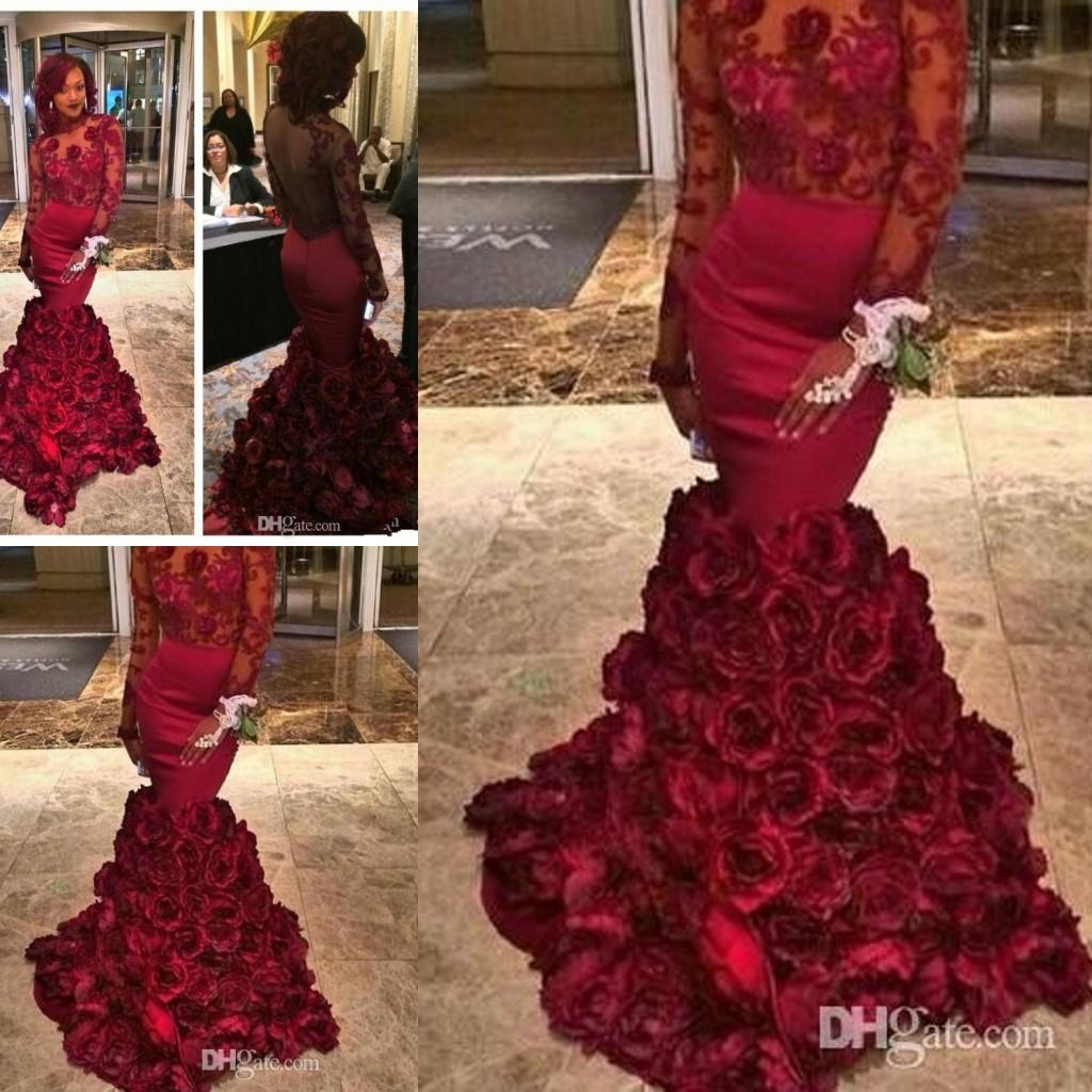 Newest 2017 Spring Romantic Rose Flowers Prom Dresses Mermaid With ...