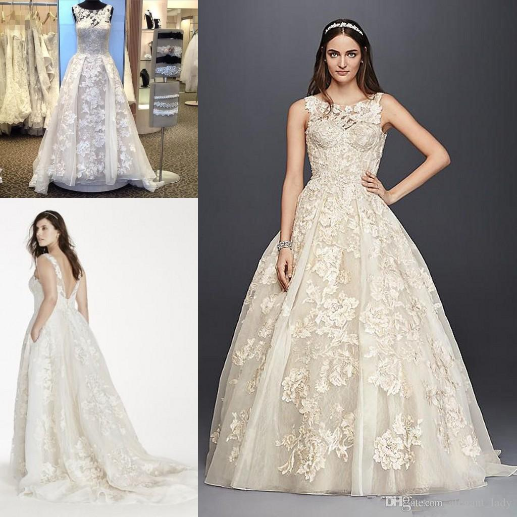 2018 Oleg Cassini Vintage Lace Puffy Skirt Wedding Dress 2017 Sheer ...